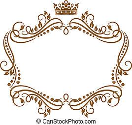 koninklijk, frame, bloemen, kroon, retro