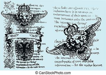 koninklijk, heraldisch, embleem, leeuw