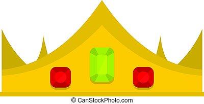 koninklijke kroon, vrijstaand, goud, pictogram