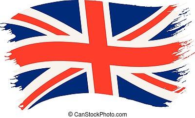 koninkrijk, geverfde, vlag, verenigd, brushstroke