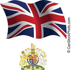 koninkrijk, jas, vlag, verenigd, golvend