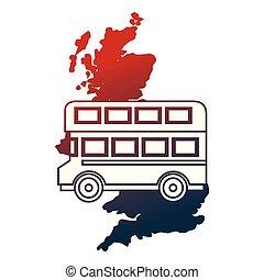 koninkrijk, kaart, verenigd, dek, dubbel, bus