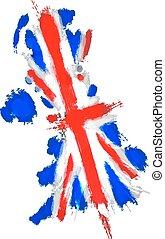 koninkrijk, kaart, verenigd, grunge, union jack