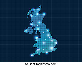 koninkrijk, kaart, verenigd, pixel