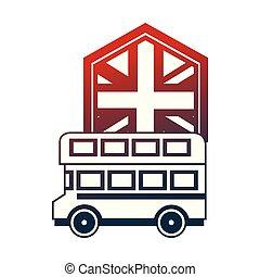 koninkrijk, verenigd, dek, dubbel, vlag, bus
