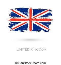 koninkrijk, verenigd, kleurrijke, slagen, land, nationale, geverfde, vlag, borstel, icon., texture.