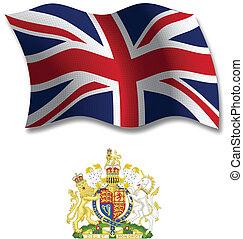 koninkrijk, verenigd, vector, vlag, golvend, textured