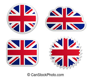 koninkrijk, vlag, verenigd, etiketten