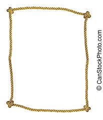 koord, gouden, frame, vrijstaand
