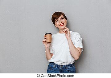 kop, takeaway, vrouw, aantrekkelijk, brunette, het houden koffie, beeld
