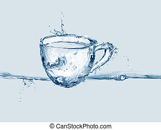 kop, water, blauwe