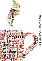 kop, wolk, coffe, markeringen