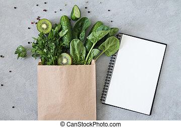 kopiëren papier, ruimte, groen top, leeg, aanzicht, gezonde , kruidenierswaren, shoppen , aantekenboekje, zak, voedingsmiddelen