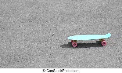 kopie, blauwe , plank, pavement., stuiver, ruimte