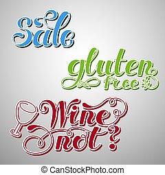 kosteloos, set, drawn., hand, element., not., words., ontwerp, vector, lettering, wijntje, verkoop, gluten, illustratie
