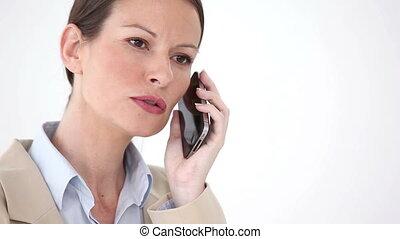 kostuum, telefoneer vrouw, serieuze