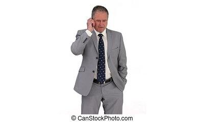 kostuum, telefoon, grijs, hebben, roepen, zakenman