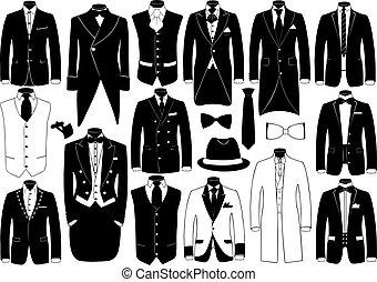 kostuums, set, illustratie