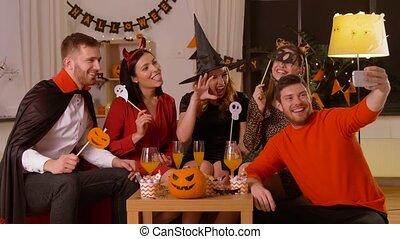 kostuums, vrienden, halloween, selfie, vrolijke , boeiend