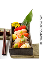 kotelet, schaaltje, sushi, plakken, japanner
