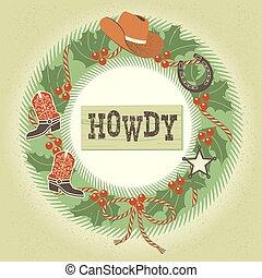 krans, kerstmis, cowboy, versiering, westelijk