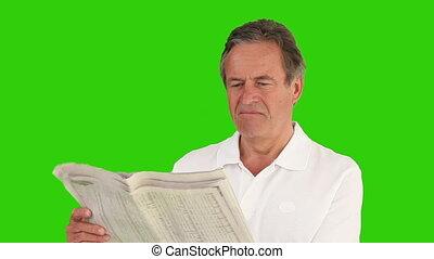 krant, ongedwongen, lezende , hemd, man, gepensioneerd, vervelend