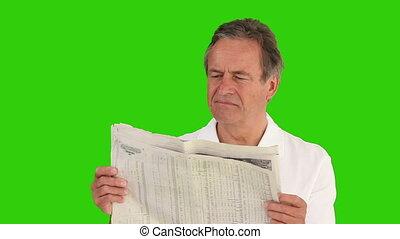 krant, ongedwongen, lezende , man, bejaarden