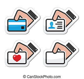 krediet, vasthouden, visitekaartje, hand