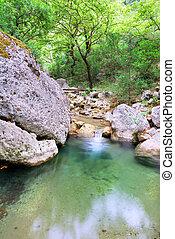 kreek, groot, rotsen, water, schoonmaken, pool