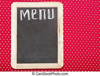 krijt, menu, geschreven, bord, titel