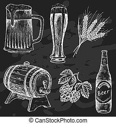 krijt, ouderwetse , bier, plank