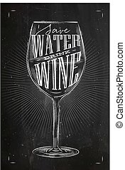 krijt, poster, drank, wijntje