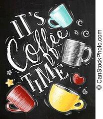 krijt, poster, koffie tijdstip