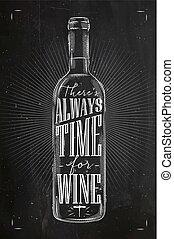 krijt, poster, tijd, wijntje