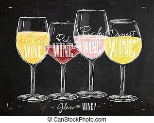 krijt, poster, types, wijntje
