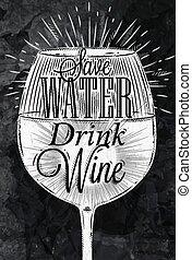 krijt, poster, vintage wijn
