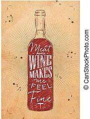 krijt, poster, vlees, wijntje