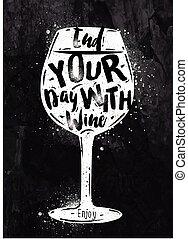 krijt, poster, wijntje