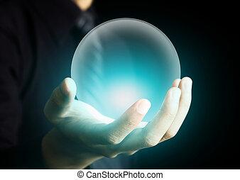 kristal, gloeiend, bal, holdingshand