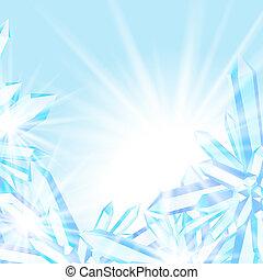 kristallen, het fonkelen, ijs