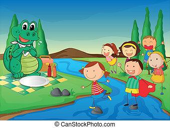 krokodil, geitjes, picknick