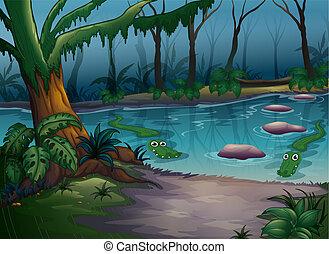 krokodillen, rivier