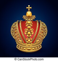 kroon, goud, koninklijk, achtergrond, donker, groot