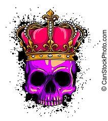kroon, menselijk, illustratie, rozen, dood, vector, schedel