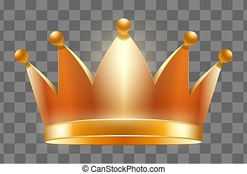 kroon, vector, illustratie, koninklijk, goud