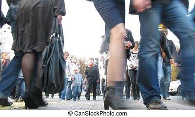 kruising, mensen, sokolniki, menigte, gaat, namiddag, voetganger