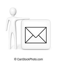 kubus, illustratie, contact, post, witte , man, us:, 3d
