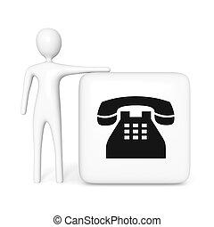 kubus, telefoon, illustratie, contact, witte , man, us:, 3d