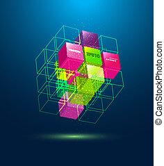 kubus, vector, abstract