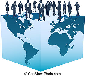 kubus, zakenlui, globaal, wereld, middelen